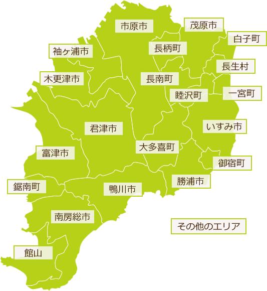 千葉、君津を中心とした地図